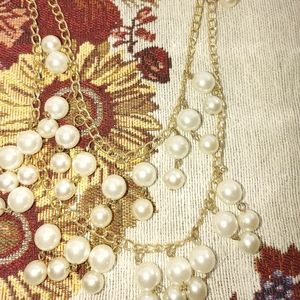 Vtg Double Layered Gold Faux Pearl Necklace